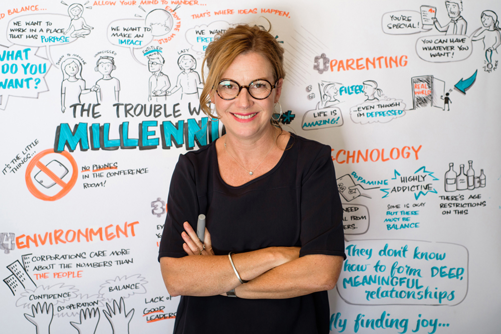Debbie Wood with her Graphic recording, The trouble with Millennials