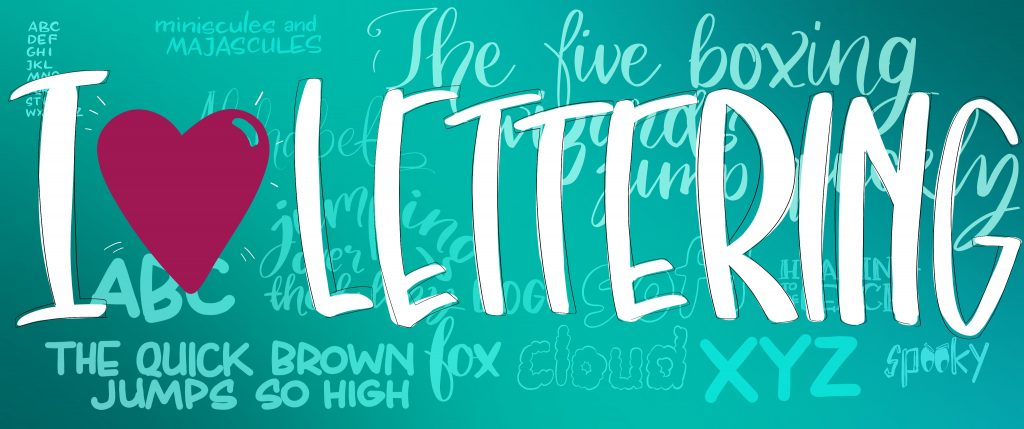 Image header that says I love lettering and has different lettering styles in the background